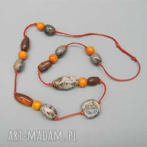naszyjnik pomarańcze w popiele - naszyjnik, prezent, kobiecy, ceramika, rzemień