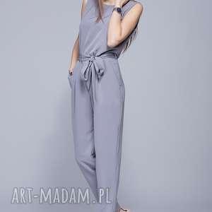 elegancki kombinezon szary h023, kombinezon, długie spodnie, pasek