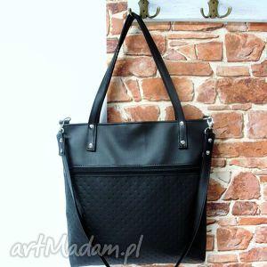 Shopper bag z kieszenią, torba, shopper, bag, szyta, czarna, xzarnaowsianka