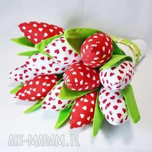 tulipany handmade z materiału bukiet - tulipany, ozdoba, bukiet, dekoracje, prezent