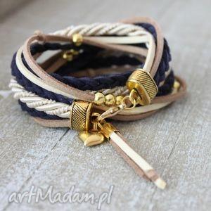 bransoletki beżowa granatowa bransoletka z sercem, beż, serce, złoto, zawijana