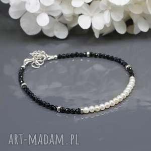 spinel i perły naturalne - bransoletka taiki, bransoletka, spinel