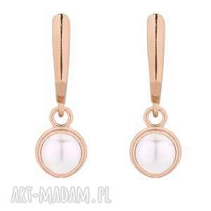 kolczyki z różowego złota perłą swarovski crystal, kolczyki, 925, perła