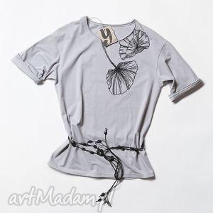 FLOWERS koszulka szara oversize, tshirt, kwiat, nadruk, oversize
