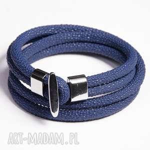 Prezent Podwójna bransoletka niebieska, rzemień, ekologiczny, minimalistyczna