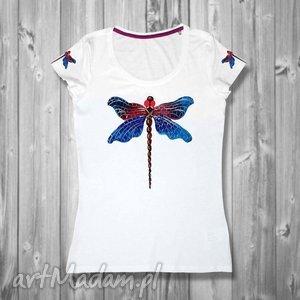 Bluzka ręcznie malowana z ważką- śliczna i niepowtarzalna, koszulka, shirt, bawełna