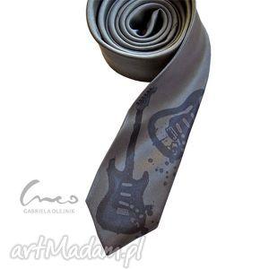 krawaty krawat z nadrukiem - gitara elektryczna szary , krawat, gitara, nadruk