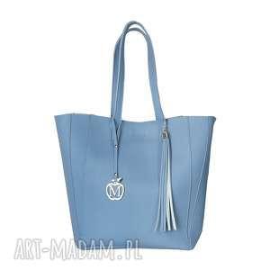 manzana duża torba klasyczna 2w1 baby blue, duża, torba, torebka, damska