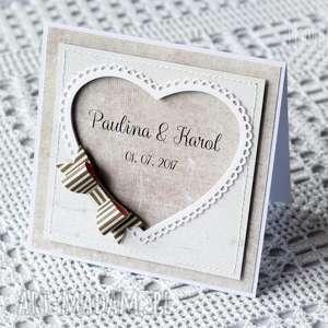 kartka personalizowana z szarą kokardą, kartka, ślubna, personalizowana, kokarda