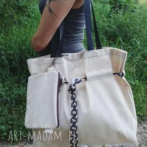ręczne wykonanie na ramię shopperbag płótno pleciony sznurek saszetka