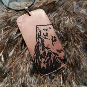 handmade męska wisior z trawionej miedzi - mount everest [044]