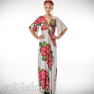 magdalena patria flower- sukienka maxi z kwiatowym printem, suknia, kwiaty, duga