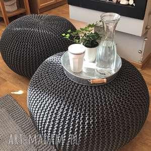 Duża pufa dziergana 80 cm usiądź i odpocznij..., loft, scandi, home-decor,