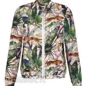 ekoszale damska bluza bomberka w gepardy, dresowa sportowa, animal print