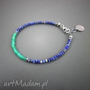 Delikatna z zielonym onyksem i lapis lazuli, onyks, lapis, bransoletka