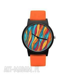 zegarki zegarek z silikonowym paskiem płomienie, kolorowy, barwny, ogień
