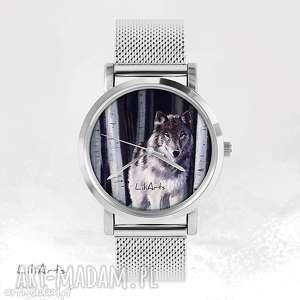 zegarki zegarek, bransoletka - szary wilk metalowy, bransoletka, metalowa