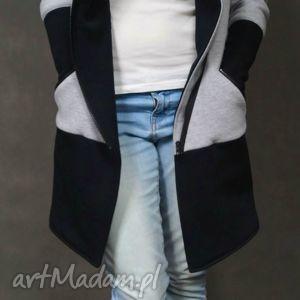 unikalny, płaszcze b g płaszcz, dresowy, szaro, czarny, kieszenie, komin