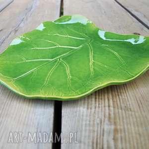 Patera dekoracyjna - duży liść ceramiczny ceramika tyka ceramika