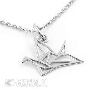 Srebrny naszyjnik ŻURAW ORIGAMI, srebrny, naszyjnik, origami, żuraw, ptak