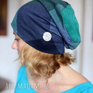 Prezent czapka damska w kratę niebiesko-zieloną, damska, kratka, choroba, dresowa