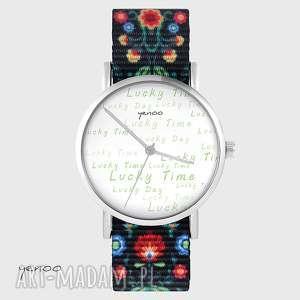 zegarek - lucky time, day folk czarny, nato, zegarek, bransoletka