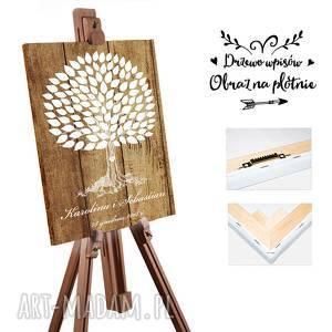 Obraz drzewo wpisów 55x80 cm - Rustykalny styl, ślub, wesele