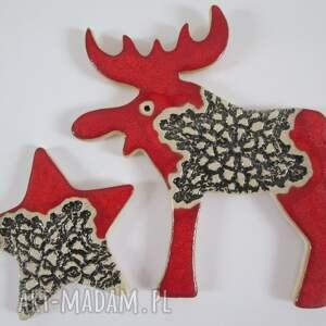 pomysł na świąteczny prezent Zestaw dwóch magnesów świątecznych w czerwieni