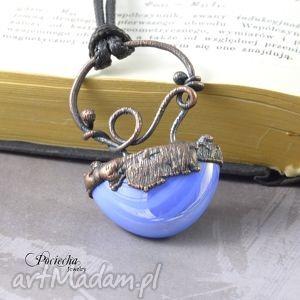 Prezent Abstrakcyjny błękit - naszyjnik z wisiorem, naszyjnik, miedź