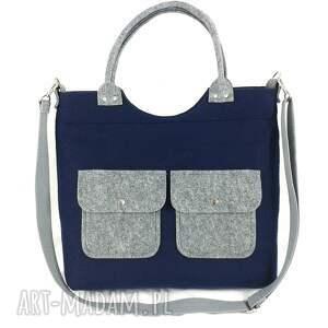 Gray pockets on navy blue - ,torebka,listoniszka,