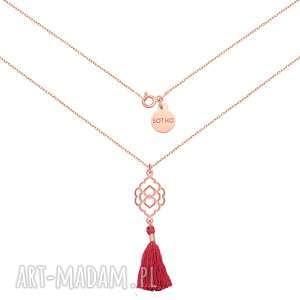 Naszyjnik z różowego złota różowym chwostem i rozetką, naszyjnik, zawieszka