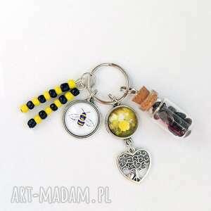 breloczek - pszczoła, żółty kwiat, breloczek, kwarc, drzewko