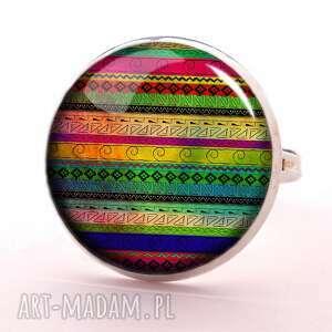 azteckie wzorki - pierścionek regulowany, prezent, paski