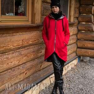 handmade płaszcze bluza -płaszcz czerwona w środku z kratą