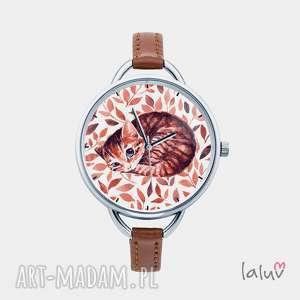 ręcznie robione zegarki zegarek z grafiką kot