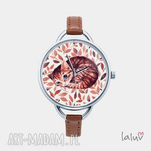 laluv zegarek z grafiką kot, prezent, kociak, słodki, kłębek, łapa, puszysty