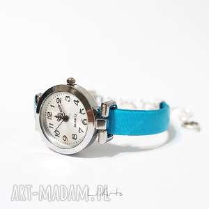 hand-made zegarki zegarek, bransoletka - niebieski, skórzany