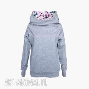 Bluza z kominokapturem kwiaty - ptaki, bluza, komino-kaptur, wiosenna-bluza