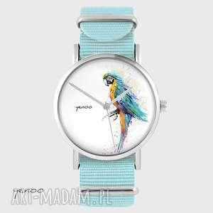 Prezent Zegarek, bransoletka - Papuga turkusowa niebieski, nato, zegarek