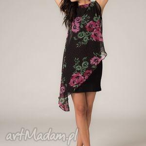 Sukienka z woalką Lila 2, lekka, zwiewna, kobieca, wygodna, kwiaty, woalka