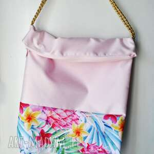 na ramię torba tropikalna, torba, przez, ramię, tropilakna, różowa, złota