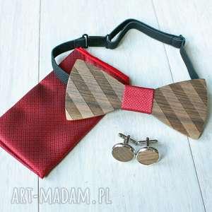 zestaw drewniana muszka poszetka spinki straps czerwień, muszka, mankietów, ślub