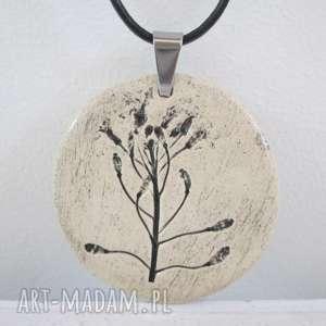 naszyjnik z odbiciem roślin - ceramiczny, naturalny, ekologiczny, minimalistyczny, z