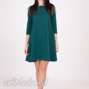 7 - sukienka ciemno zielona - sukienka, sukienki, dzianina