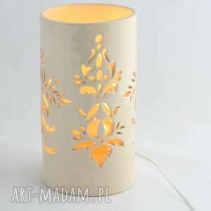lampa ceramiczna lilia led w kolorze ecru, led, handmade
