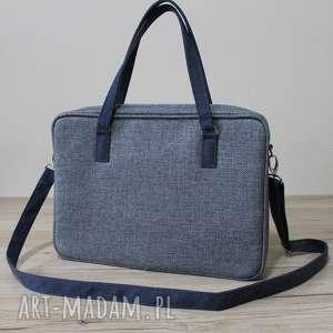 torba na laptop - tkanina grafit i granat denim, elegancka, nowoczesna, biuro