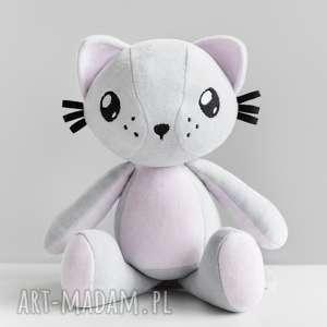 maskotki kot przytulanka - poofy cat plushee szaro-różowy, kot, prezent, dziecko