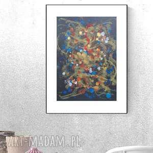 oryginalna grafika abstrakcyjna, nowoczesna dekoracja na ścianę, abstrakcja