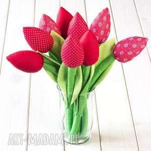 tulipany czerwony bawełniany bukiet, tulipany, kwiaty, prezent, urodziny, bawełniane