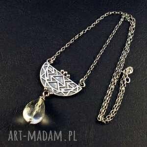 kryształ geometrycznie, srebrny wisior, kwarc górski, srebro 925